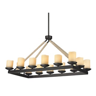 Elk Lighting Pearce 14-light Matte Black Rope Rectangle Chandelier
