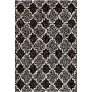 Christopher Knight Home Mesa Hybrid Quadrant Two Tone Silver/ Black Area Rug (5' x 7'3)