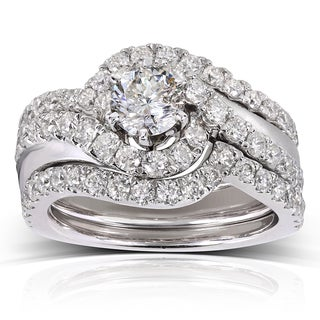 Annello 14k White Gold 1 3/4ct TDW Round-cut Diamond 3-piece Bridal Rings Set (H-I, I1-I2)