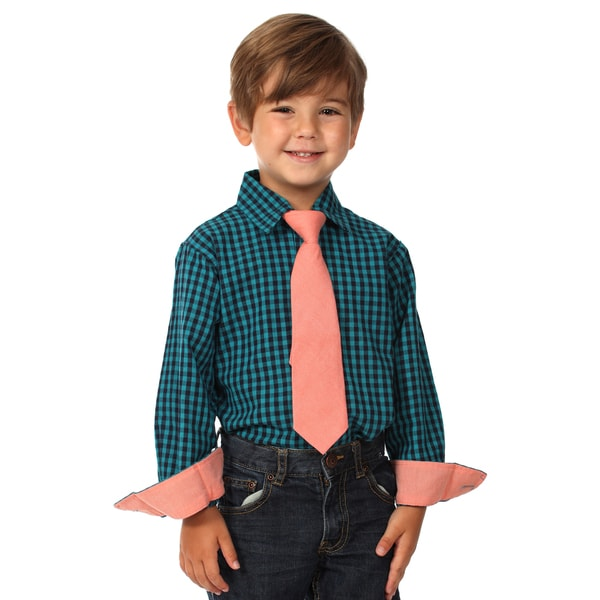 Future Trillionaire Boys Blue Plaid Cotton Shirt and Tie Set