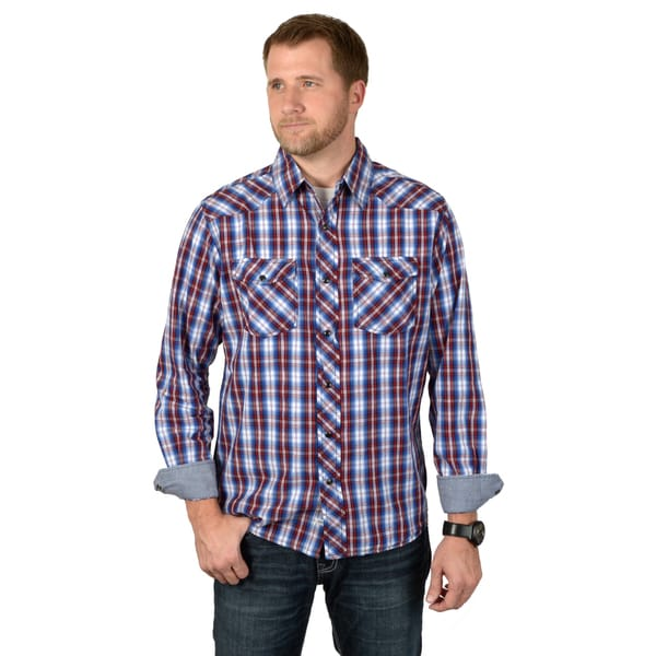 Boston Traveler Men's Long Sleeve Plaid Snap-up Shirts
