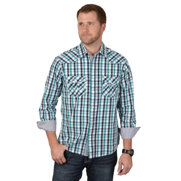 Boston Traveler Men's Long Sleeve Plaid Button-up Shirts