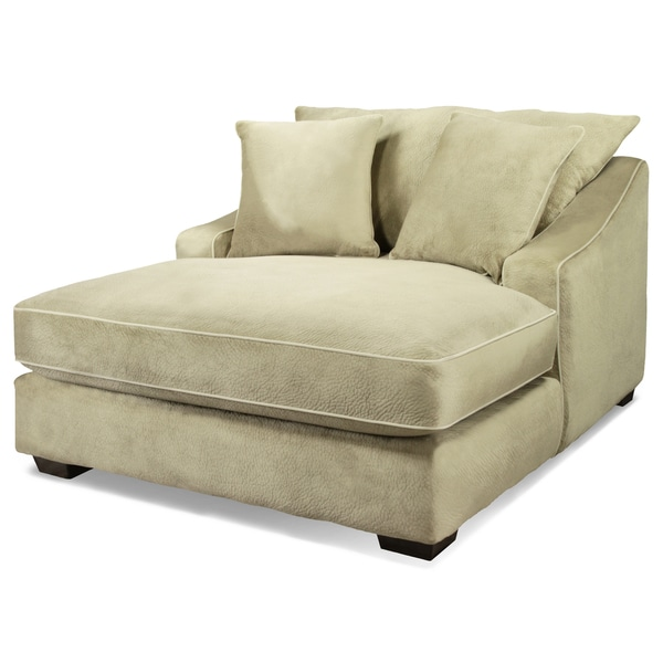 Furniture of america parmes beige champion fabric chaise for Bella flora double chaise lounge
