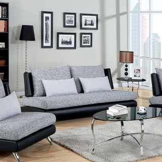 Furniture of America Kanchy Two-tone Fabric and Leatherette Sofa