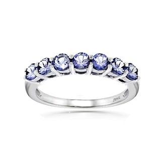 Glitzy Rocks Sterling Silver Tanzanite Eternity Ring