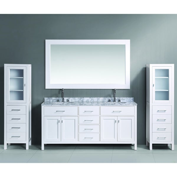 72 inch white double sink vanity set with two matching linen cabinets