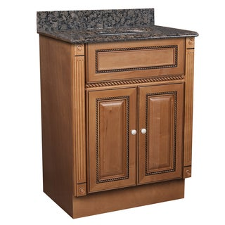 Marquis Cinnamon Maple 24 x 18 Bathroom Vanity and Baltic Brown Granite Top