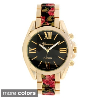 Geneva Platinum Women's Round Face Floral Print Link Watch