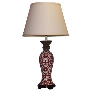 Crown Lighting 1-light Burgundy with White Geometric Pattern Ceramic Table Lamp
