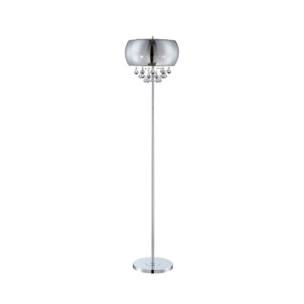 Lite Source 4-light Floor Lamp Chrome with Smoke Mirrored Crystal Glass