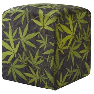 Toke Stool Cannabis Leaf Pattern on Velvet Ottoman