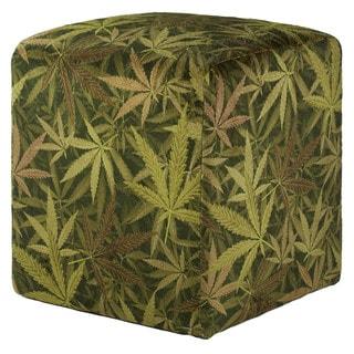 Toke Stools' tm Cannabis Herb Leaf Print on Velvet Ottoman