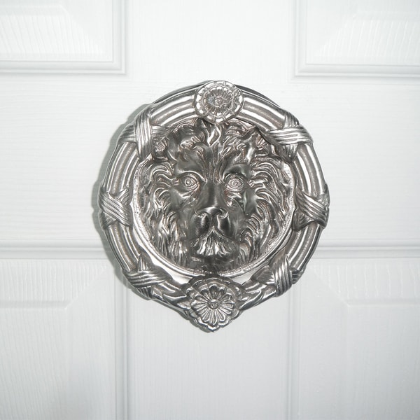 Highpoint Collection Satin Nickel 6-inch Lion Head Door Knocker
