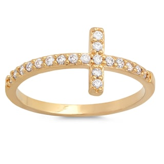 Sterling Essentials Silver Cubic Zircona Sideways Cross Ring
