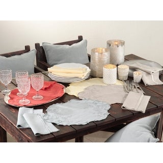 Embroidered Stone Washed Placemats (Set of 4)