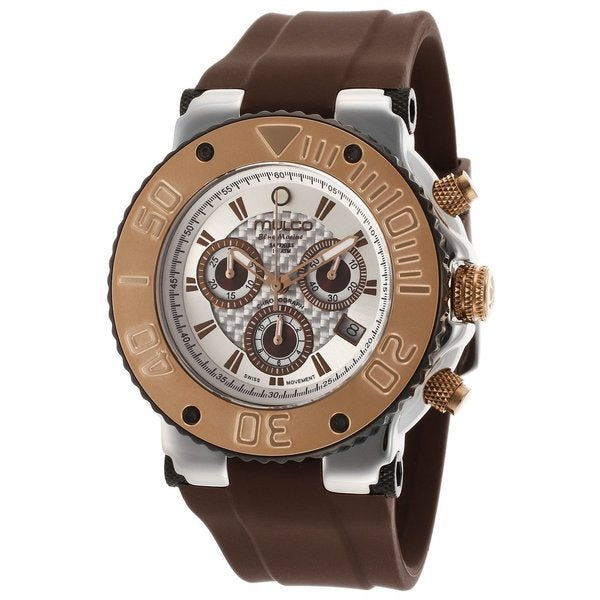 Mulco Chronograph White Brown Band Watch