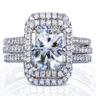 Annello 14k White Gold Radiant-cut Moissanite and 5/8ct TDW Diamond Halo Bridal Set (G-H, I1-I2)