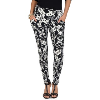 Hailey Jeans Co. Junior's Geometric Print Banded Waist Harem Pants