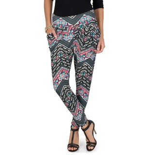 Hailey Jeans Co. Junior's Geometric Print Banded Waist Harem Pants