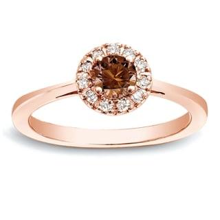 Auriya 14k Rose Gold 1/2ct TDW Brown Round Diamond Halo Ring (SI1-SI2)