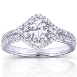 Annello 14k White Gold 1ct TDW Oval Diamond Engagement Ring (H-I, I1-I2)