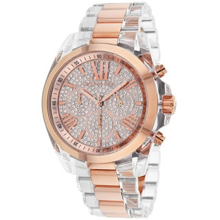 Michael Kors Women's MK5905 Bradshaw Clear Rosetone Stainless Steel Watch