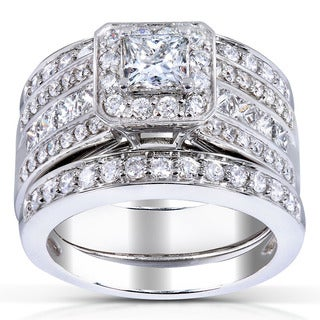 Annello 14k White Gold 1 4/5ct TDW Princess-cut Halo Diamond 3-piece Bridal Set (H-I, I1-I2)