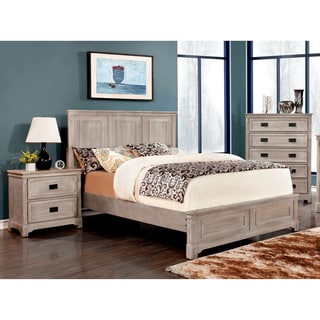 Furniture of America Godric Traditional 3-Piece Weathered Bedroom Set
