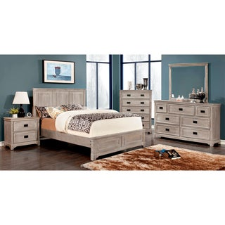 Furniture of America Godric Traditional 4-Piece Weathered Bedroom Set