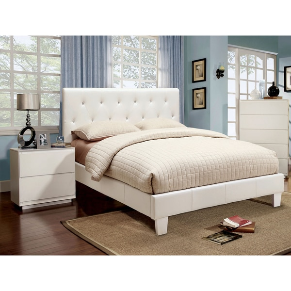 Furniture of America Mircella White 3-piece Bed, Nightstand and 12-inch Mattress Set 14109778