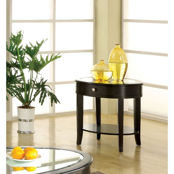 Furniture of America Slovaria Dark Walnut Glass-top End Table