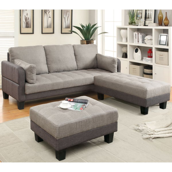 Furniture of America Oneka Taupe Grey 3-piece Convertible Futon Sofa Set