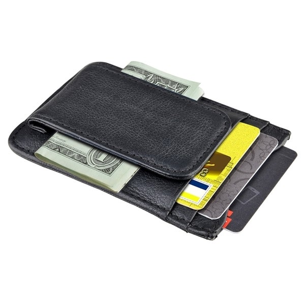 Zodaca Black Money Clip Genuine Leather Wallets Case with Card Slots