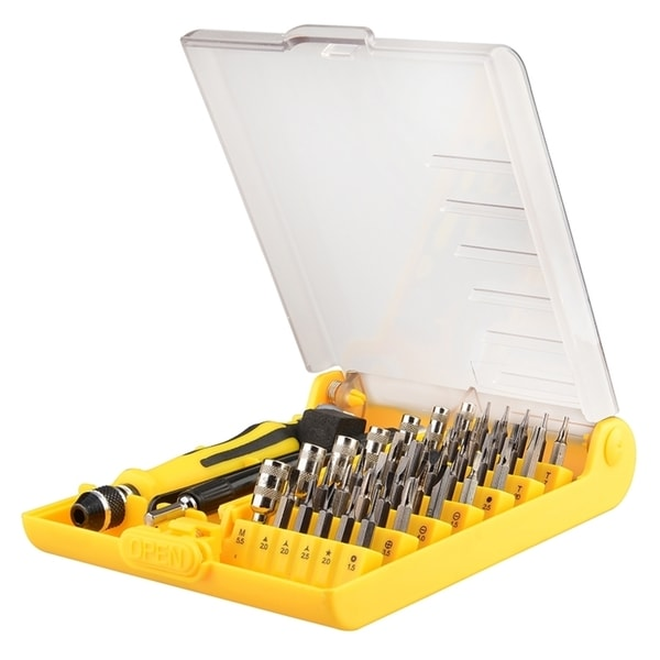 INSTEN Yellow/ Black Magnetic Screwdriver Set with 45 Star Bits for Phones