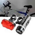 INSTEN Bicycle Front Head Light and Rear Lamp with 5 LEDs