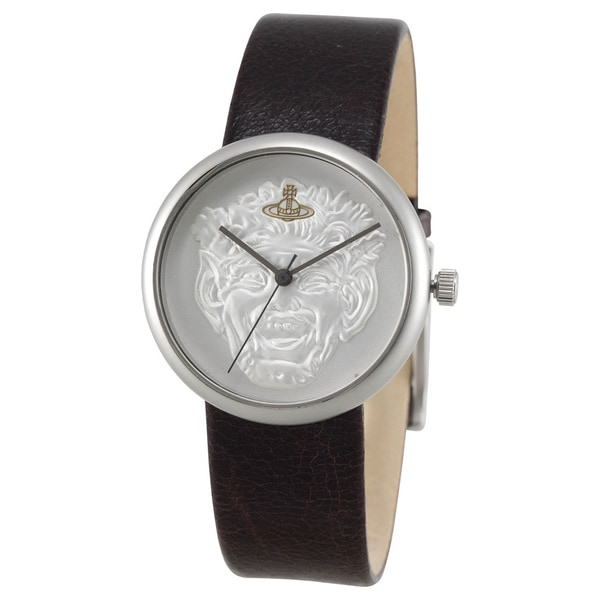 Vivienne Westwood Men's VV021SLBR Neptune Silvertone Dark Brown Leather Watch