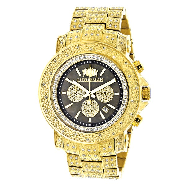 Luxurman Iced Out Yellow Goldplated Men's 2ct White Diamond Watch 14109930