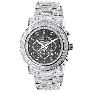 Luxurman Men's Oversized Iced Out Escalade 2ct Diamond Watch with Metal Band and Extra Leather Straps