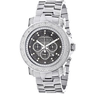 Luxurman Black Mother of Pearl Escalade Luxury 3/4ct White Diamond Chronograph Watch