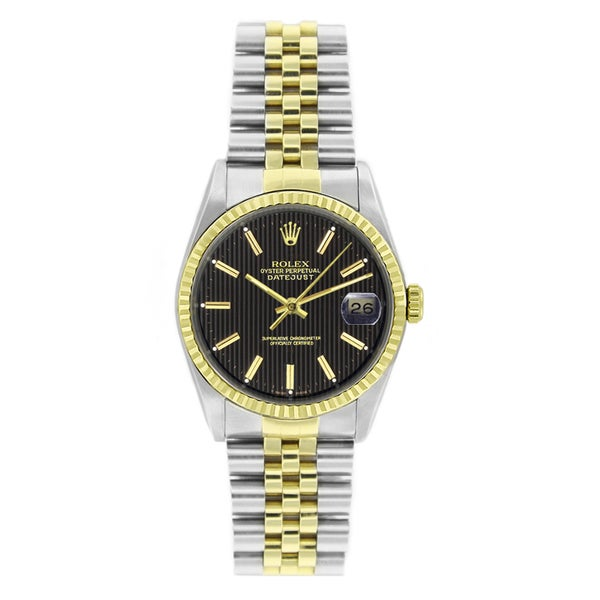 Pre-Owned Rolex Men's Datejust 16013 Two-tone Black Tapestry Stick Watch