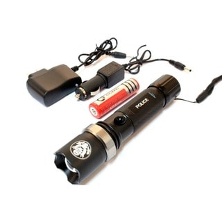 6.5-inch Black Swat with Zoom Multi-purpose Heavy Duty Flashlight