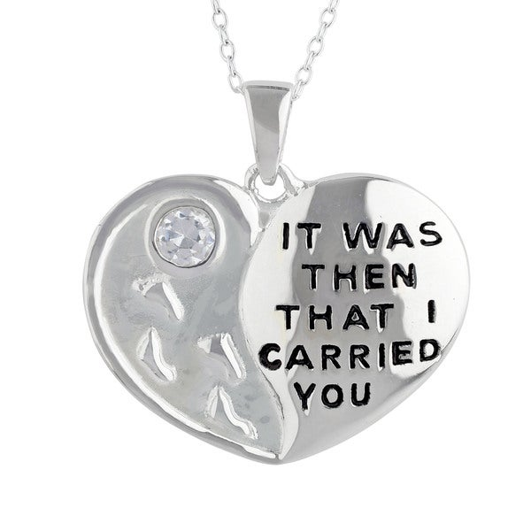 Sunstone Sterling Silver 'It Was Then' Inspirational Cubic Zirconia Heart Pendant Necklace