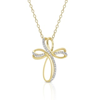 Dolce Giavonna Gold Overlay Cubic Zirconia Cross Necklace