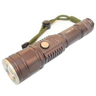 Defender 7-inch Grey Zoom Ultra Bright XML T6 CREE LED Flashlight with USB & Rechargeable Battery