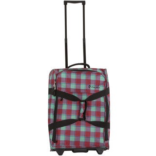 Calpak Rover Bubble Gum Plaid 20-inch Washable Rolling Carry-on Upright Duffel Bag