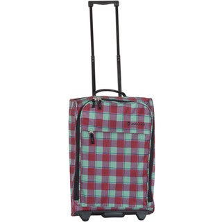 Calpak 'Zorro' Bubble Gum Plaid 20-inch Washable Rolling Shopper Tote Bag