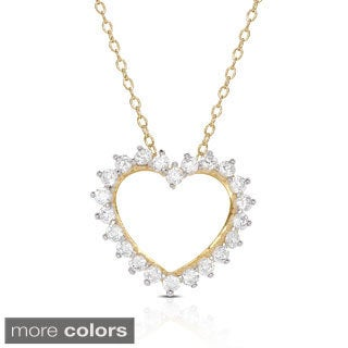 Dolce Giavonna Gold Or Silver Overlay Cubic Zirconia Heart Necklace