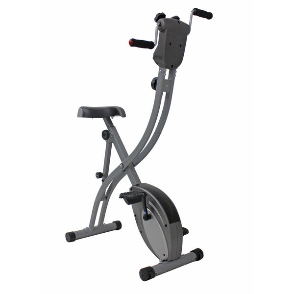 Sunny Health & Fitness Folding Upright Bike with Arm Exerciser