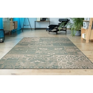 Couristan Afuera Country Cottage Sea Mist/ Ivory Rug (7'10 x 10'9)