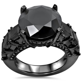 Noori 14k Black Gold 9ctw Black Round Diamond Ring